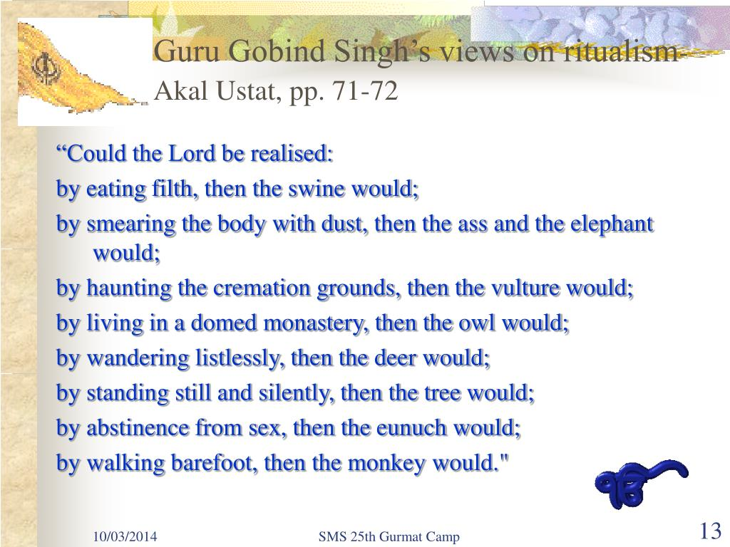 Guru Gobind Singh's views on ritualism