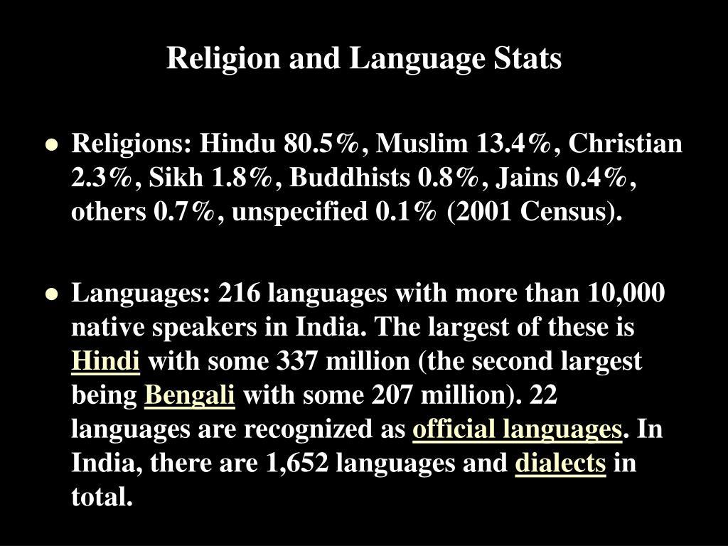Religion and Language Stats