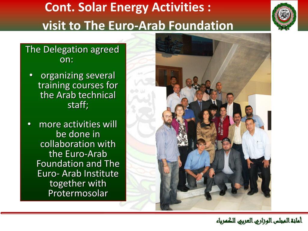 Cont. Solar Energy Activities :