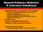beyond evidence websites literature databases