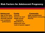 risk factors for adolescent pregnancy