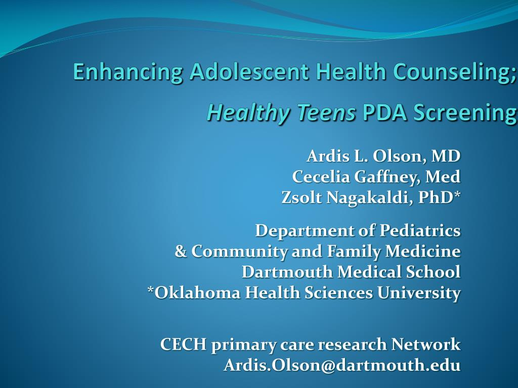 enhancing adolescent health counseling healthy teens pda screening l.