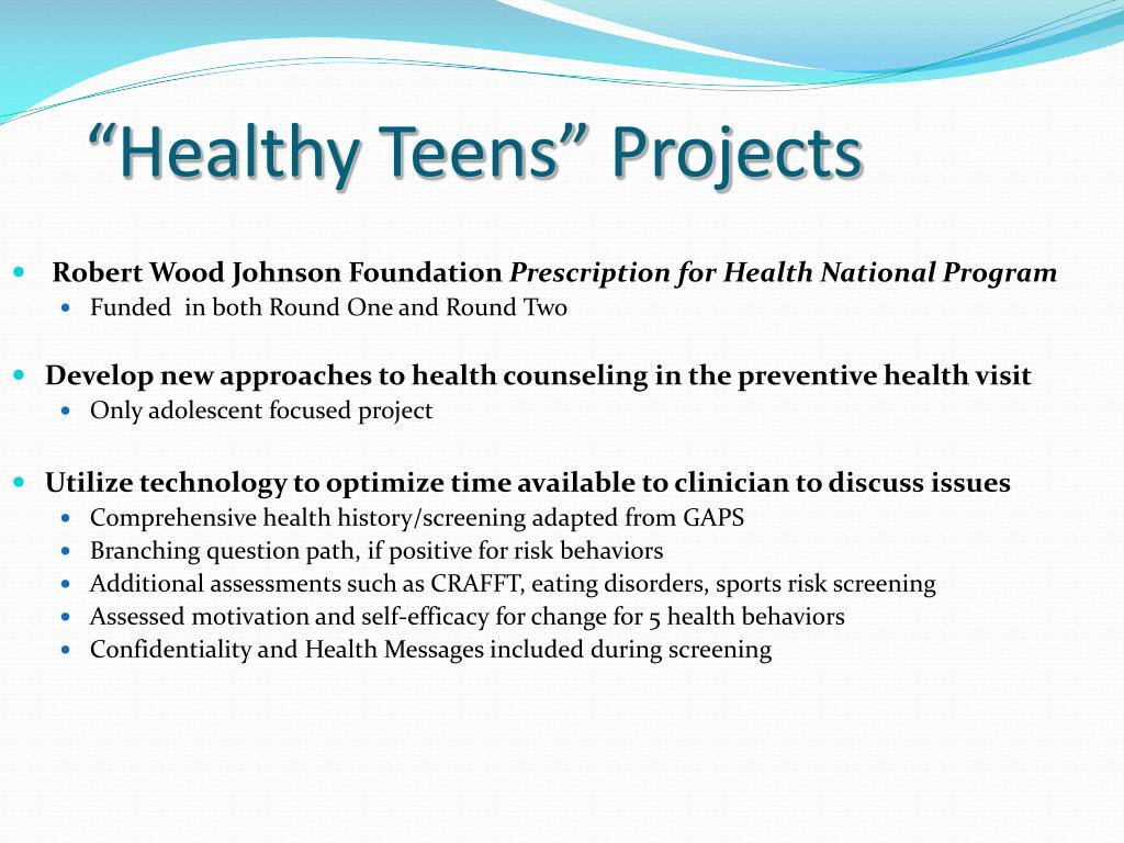 """""""Healthy Teens"""" Projects"""