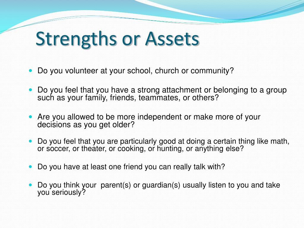 Strengths or Assets