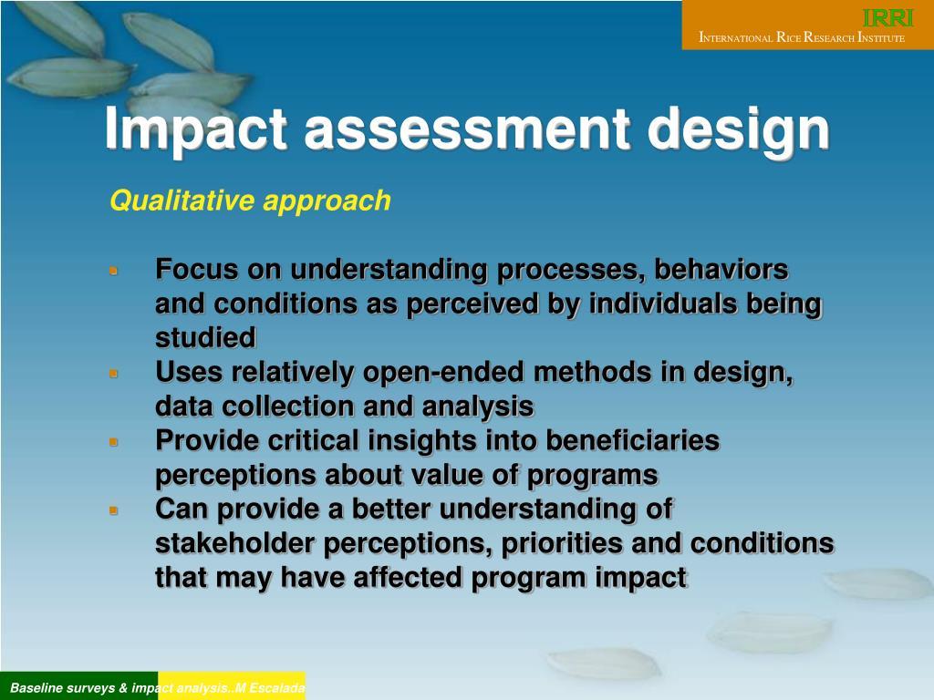 Impact assessment design