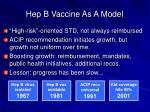 hep b vaccine as a model