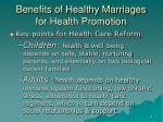 benefits of healthy marriages for health promotion