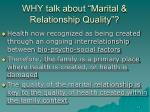 why talk about marital relationship quality