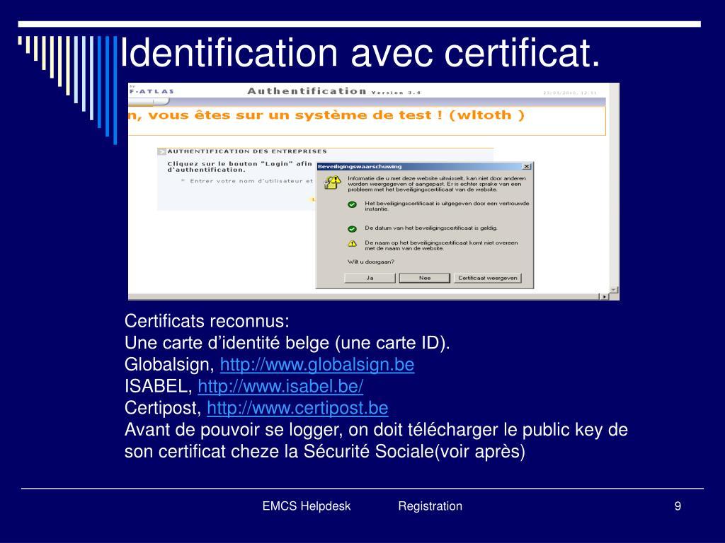 Identification avec certificat.