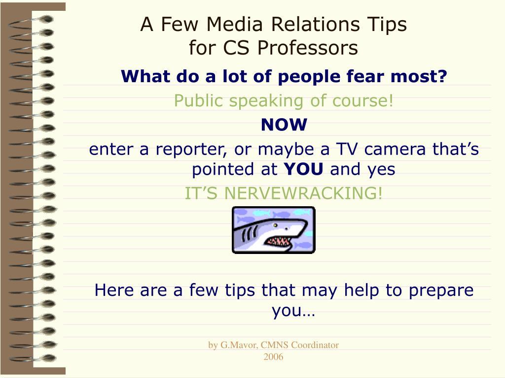 a few media relations tips for cs professors
