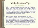 media relations tips for the record