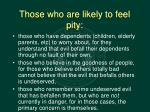 those who are likely to feel pity