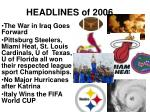 headlines of 2006