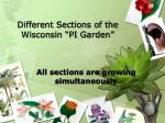 different sections of the wisconsin pi garden