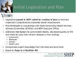 initial legislation and plan