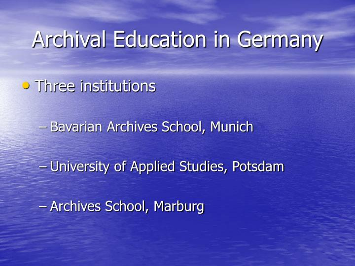 Archival education in germany