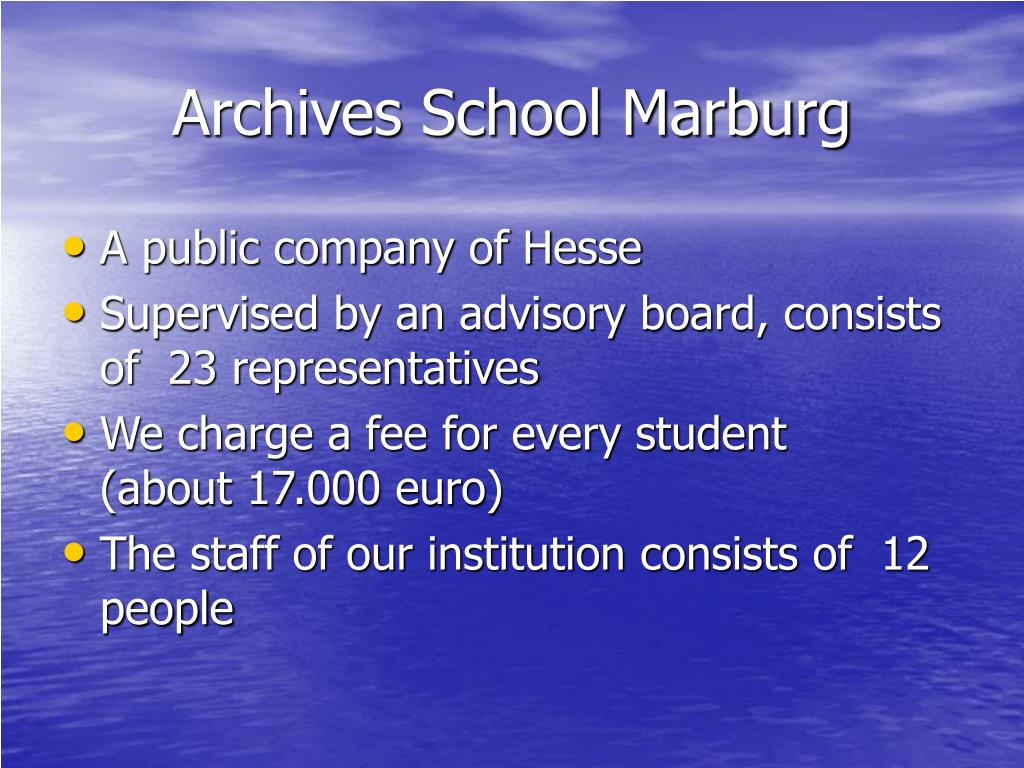 Archives School Marburg