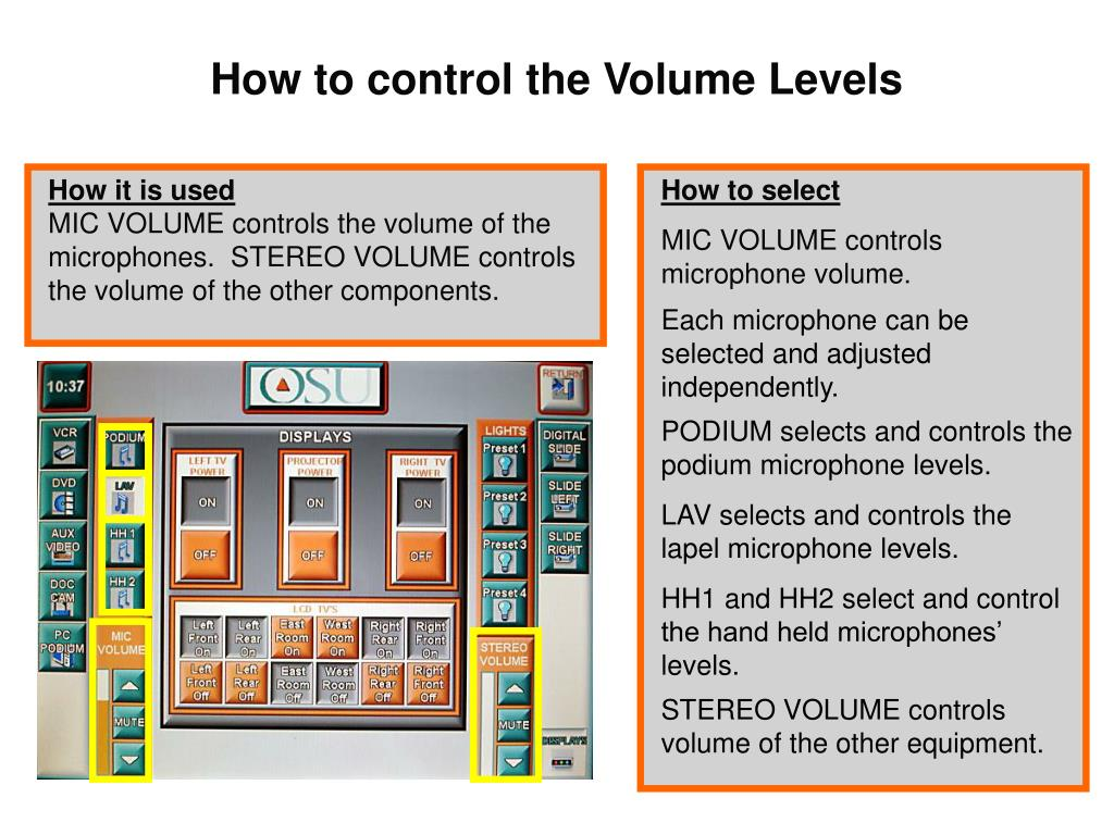 How to control the Volume Levels