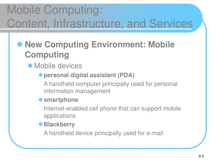 Mobile computing content infrastructure and services
