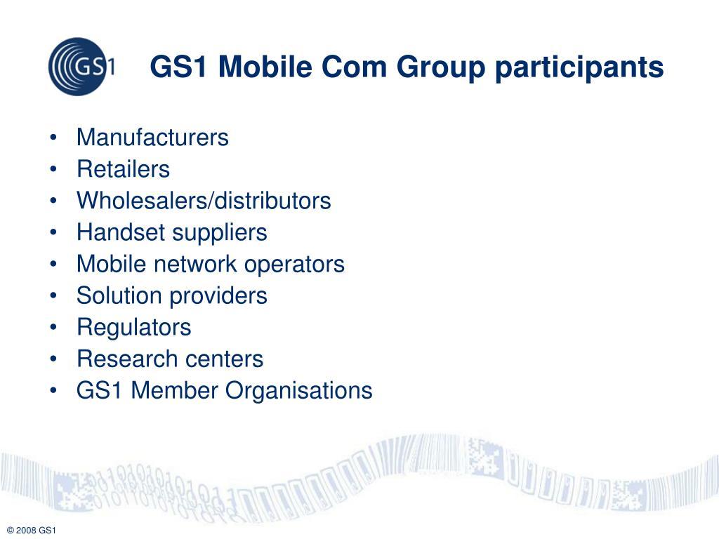 GS1 Mobile Com Group participants