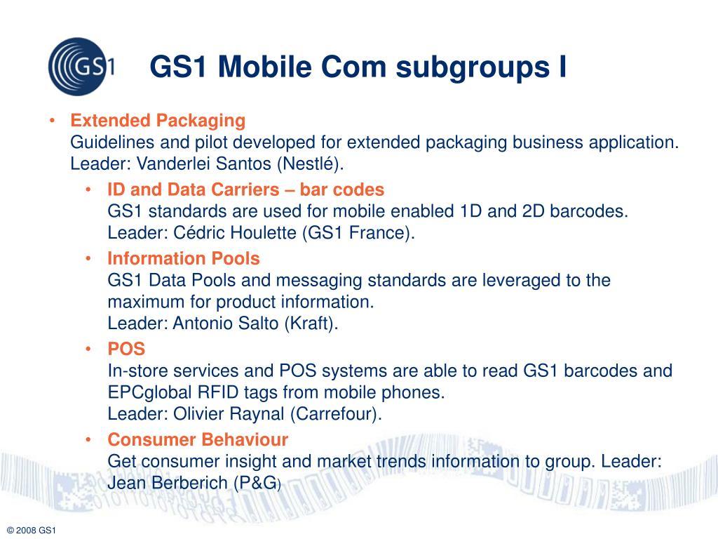 GS1 Mobile Com subgroups I