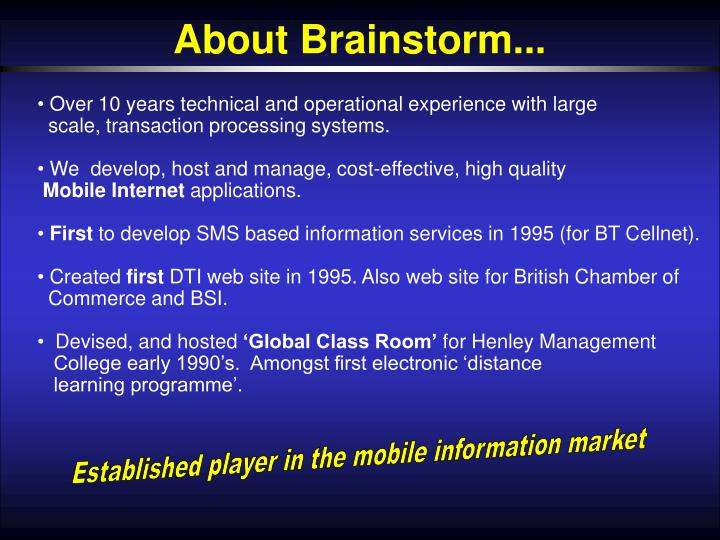 About Brainstorm...