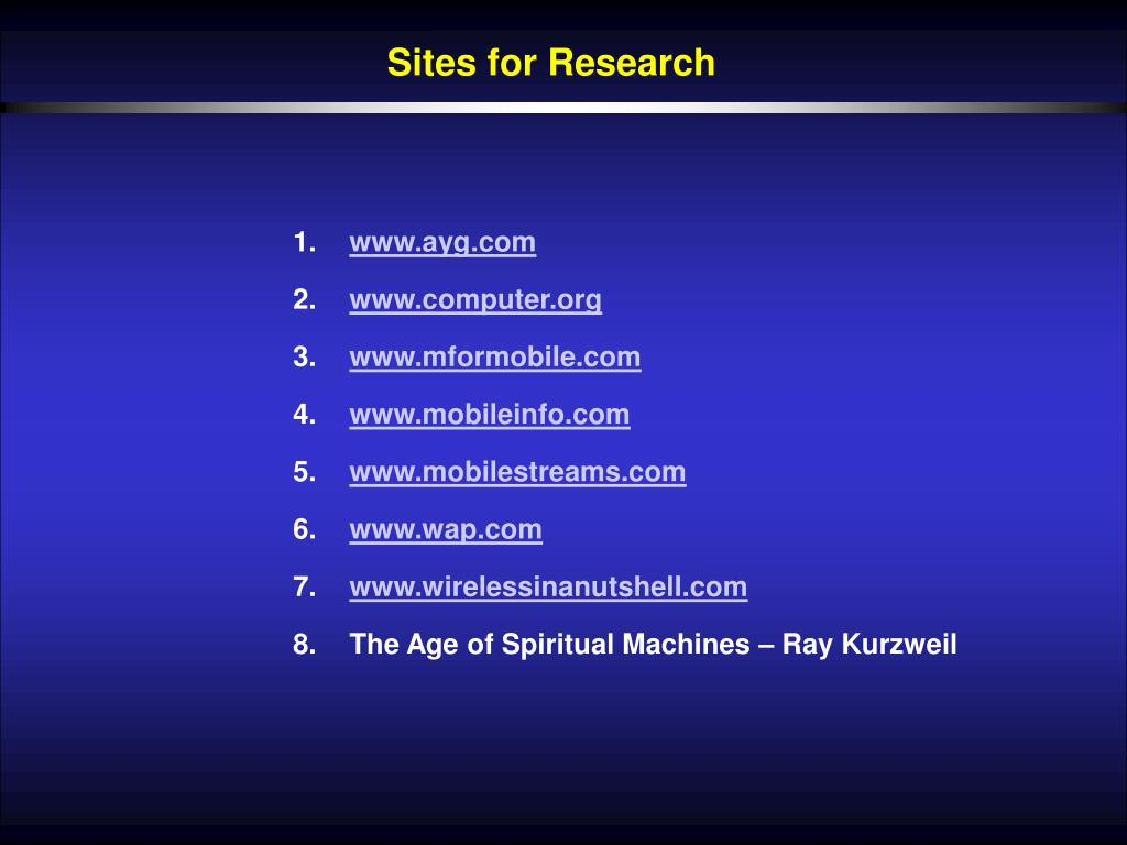 Sites for Research