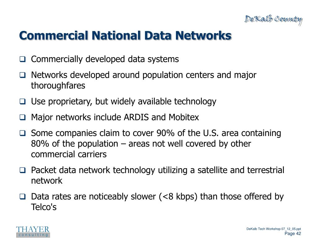 Commercial National Data Networks