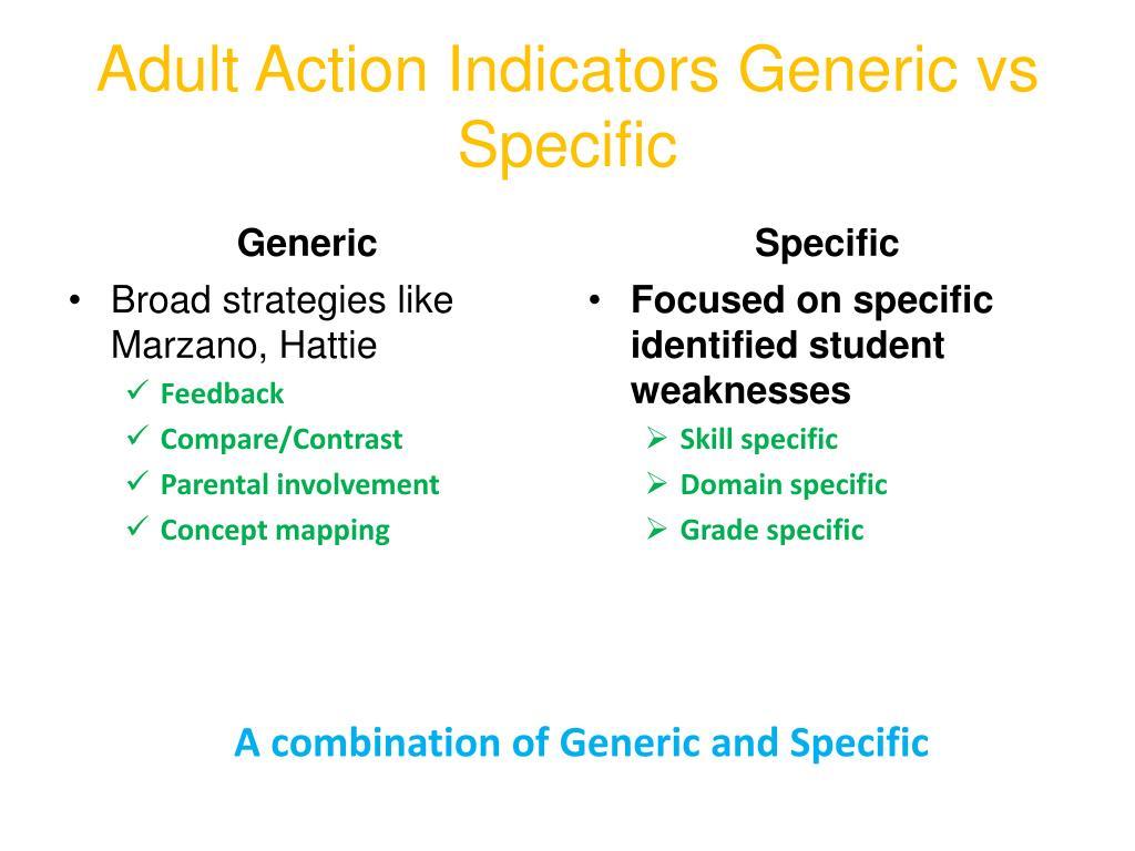 Adult Action Indicators Generic vs Specific