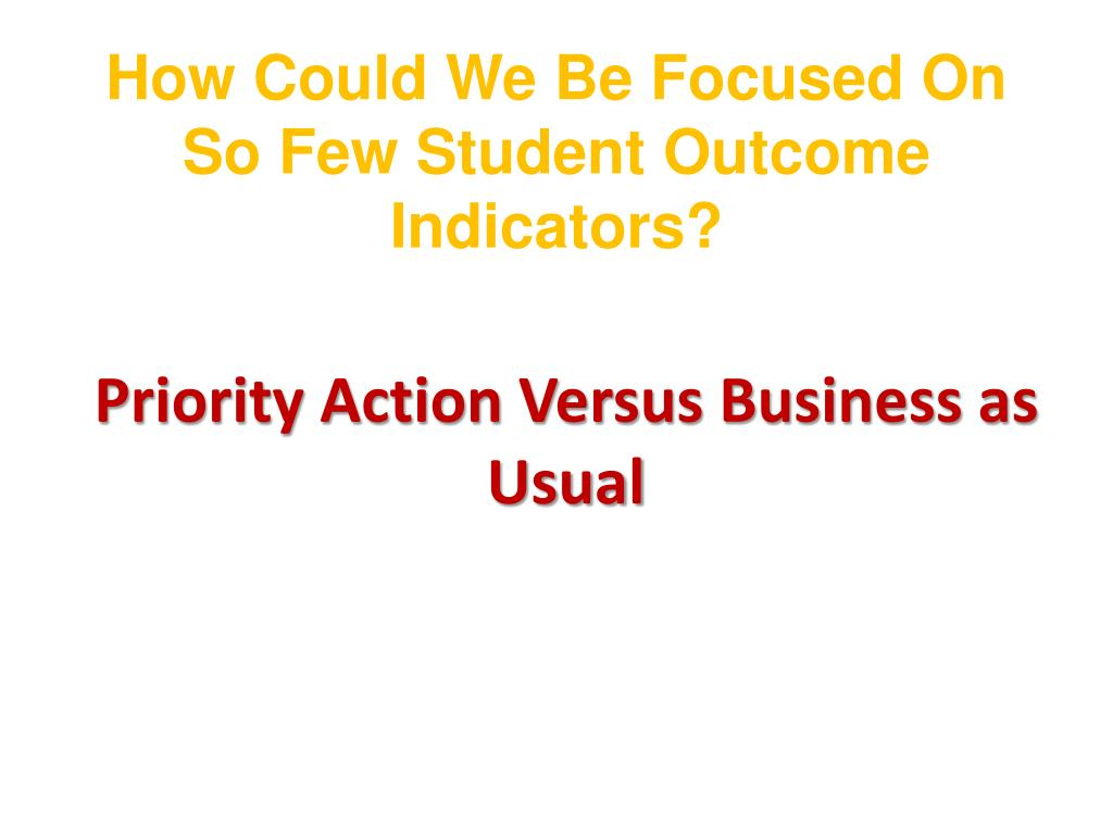 How Could We Be Focused On So Few Student Outcome Indicators?