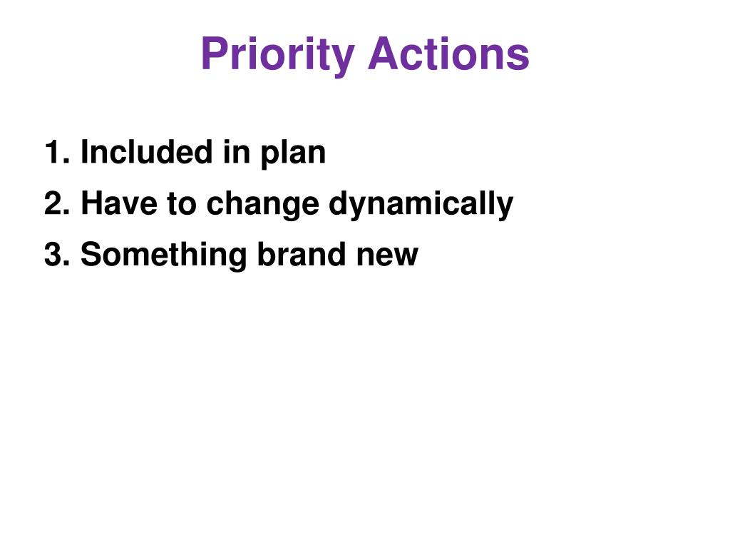 Priority Actions