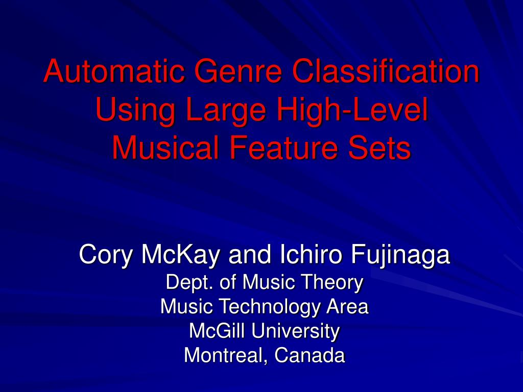 automatic g enre classification using large high level musical feature sets l.