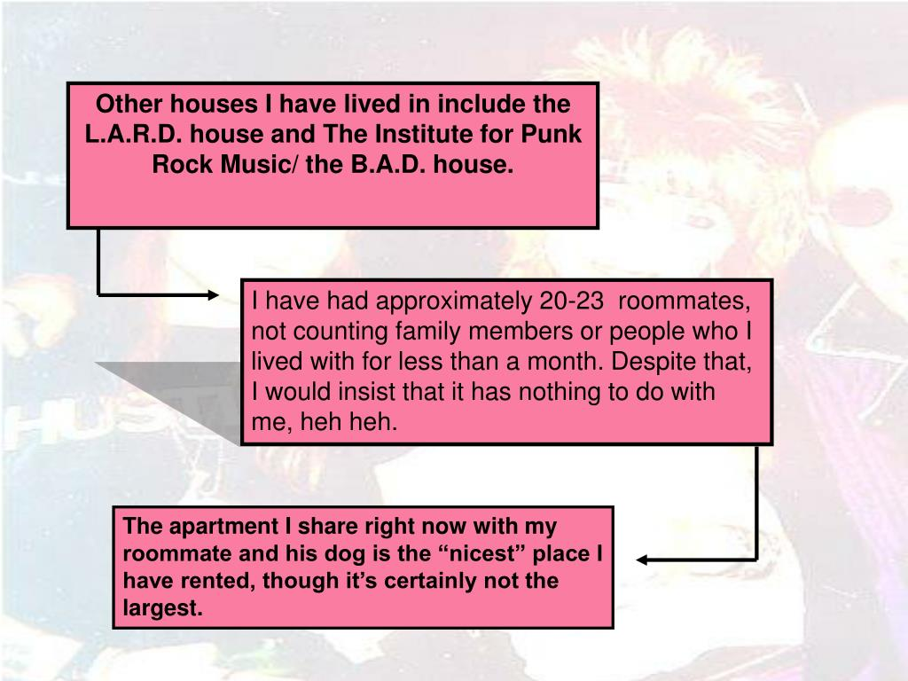 Other houses I have lived in include the L.A.R.D. house and The Institute for Punk Rock Music/ the B.A.D. house.