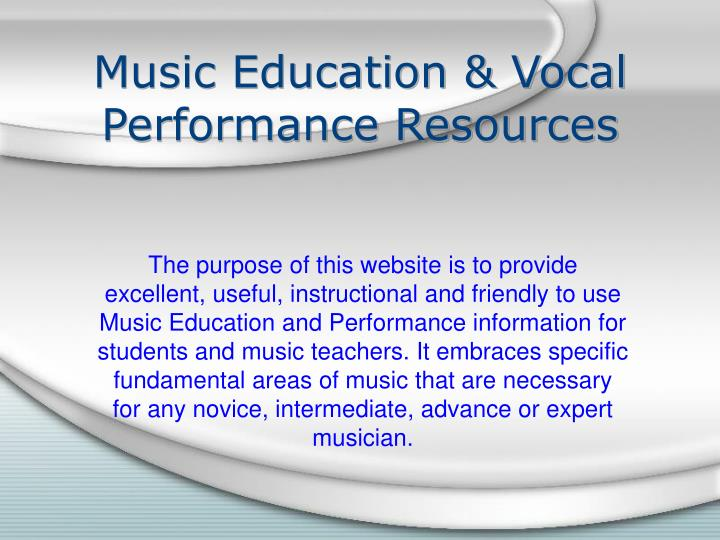 Music education vocal performance resources
