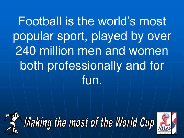 Football is the world's most popular sport, played by over 240 million men and women both professi...