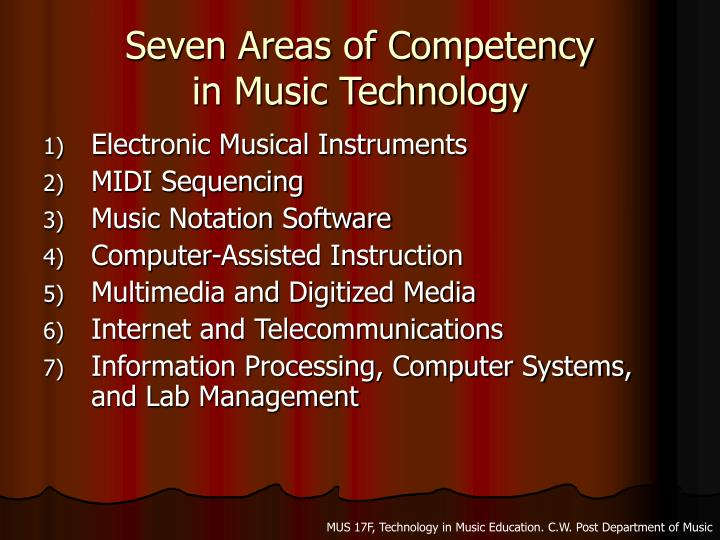 Seven areas of competency in music technology3