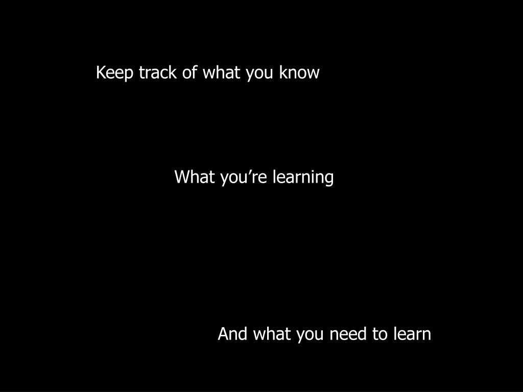 Keep track of what you know