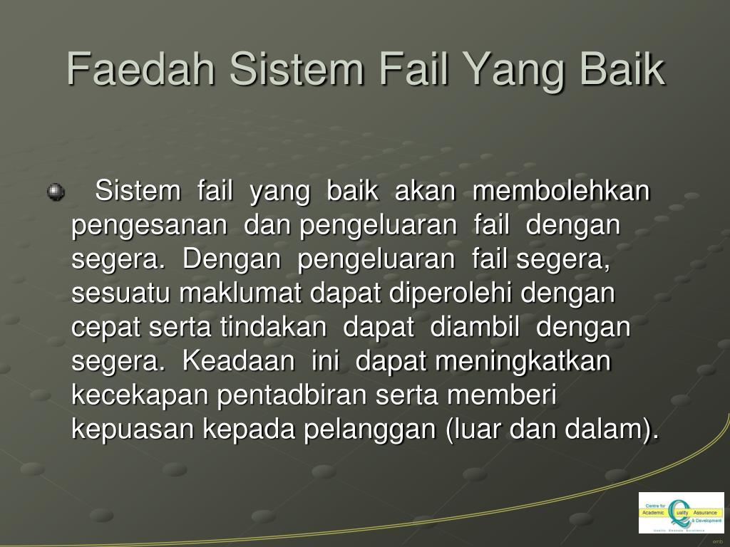 Faedah Sistem Fail Yang Baik