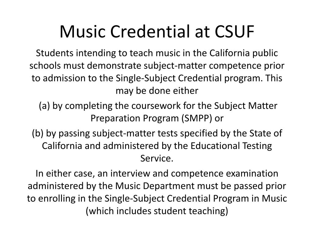 music credential at csuf l.