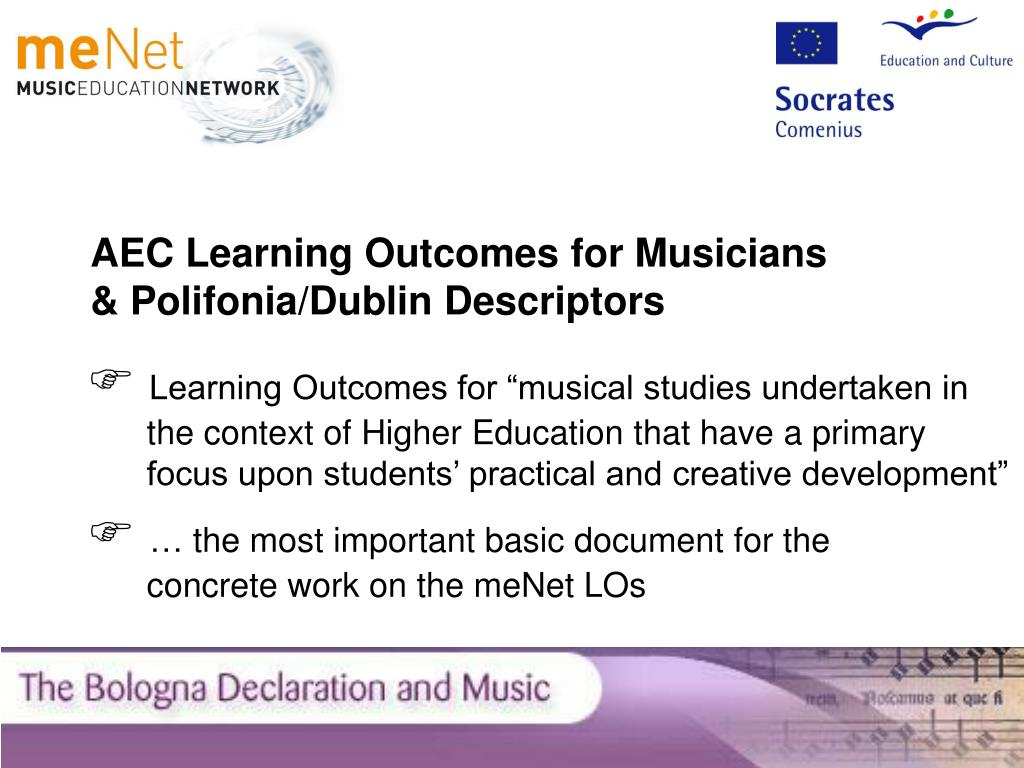 AEC Learning Outcomes for Musicians