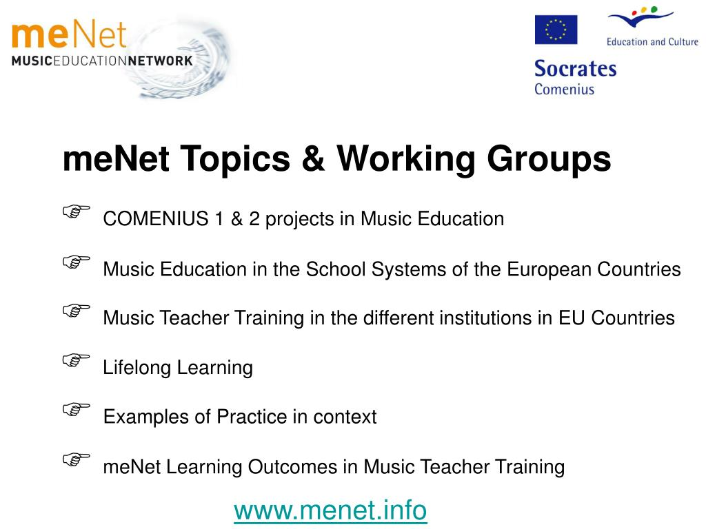 meNet Topics & Working Groups