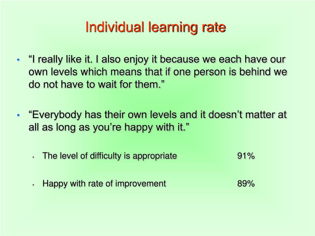 Individual learning rate