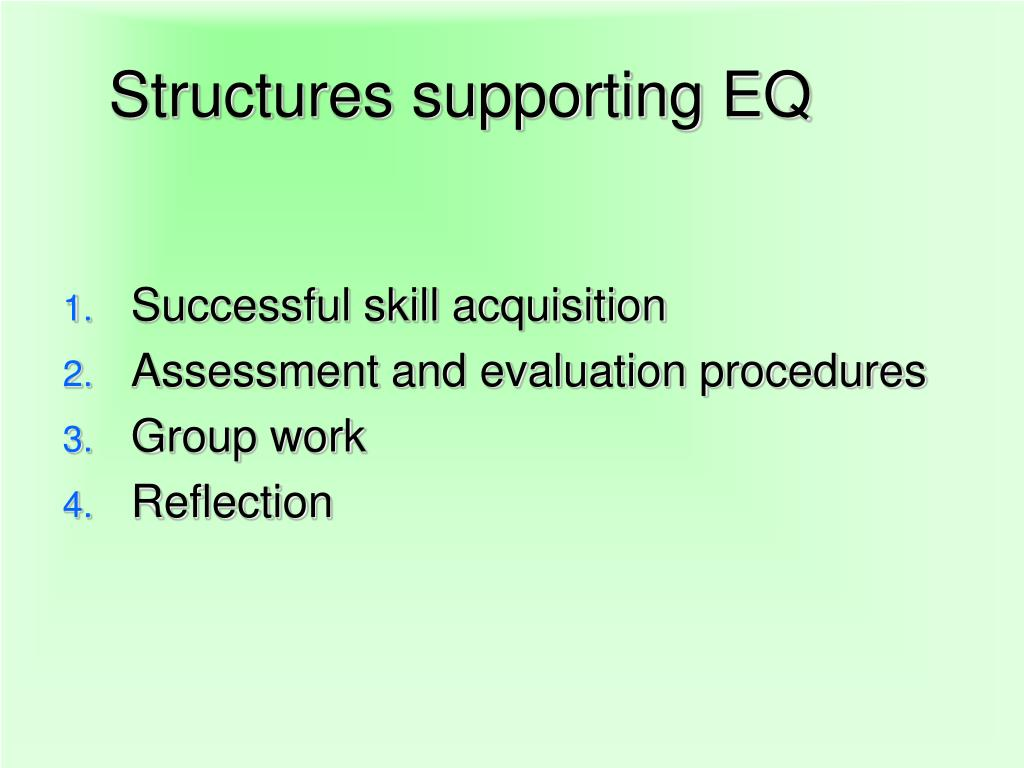 Structures supporting EQ