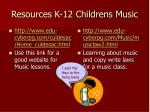 resources k 12 childrens music
