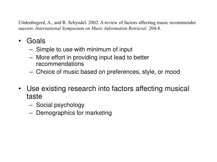 Uitdenbogerd, A., and R. Schyndel. 2002. A review of factors affecting music recommender success.