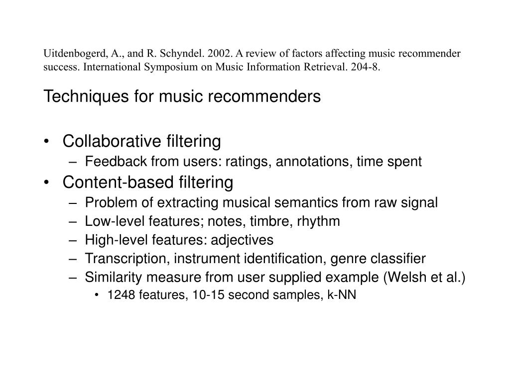 Uitdenbogerd, A., and R. Schyndel. 2002. A review of factors affecting music recommender success. International Symposium on Music Information Retrieval. 204-8.