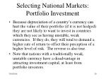 selecting national markets portfolio investment29