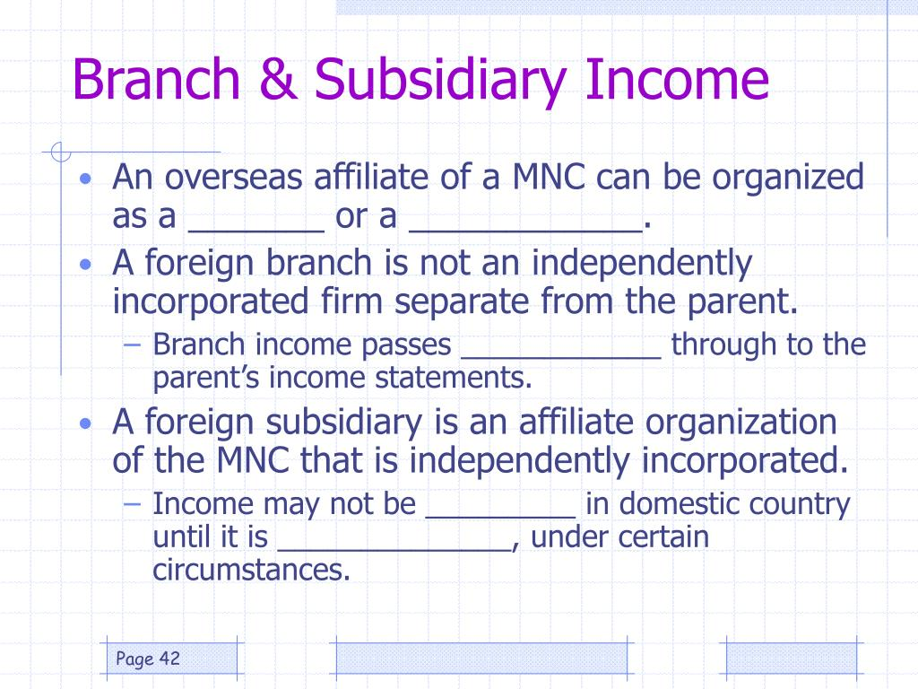 Branch & Subsidiary Income
