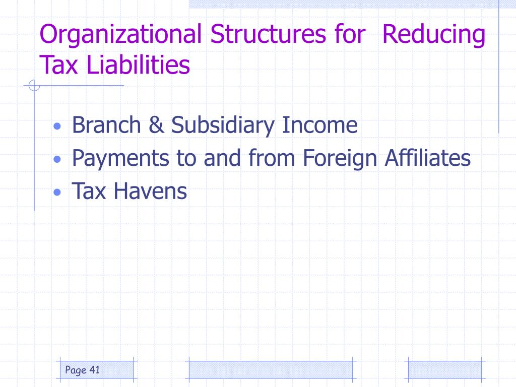 Organizational Structures for  Reducing Tax Liabilities