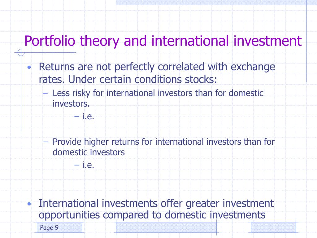 Portfolio theory and international investment